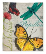 Grey Postcard Butterflies 3 Fleece Blanket