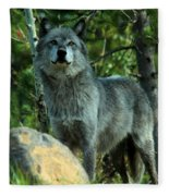 North American Wolf  Fleece Blanket