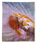 Grid Above Flowers Fleece Blanket