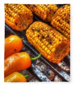 Grilling Corn And Peppers Fleece Blanket