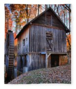 Grist Mill Under Fall Foliage Fleece Blanket