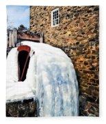 Grist Mill In Winter Fleece Blanket