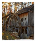 Grist Mill With A Golden Glow Fleece Blanket