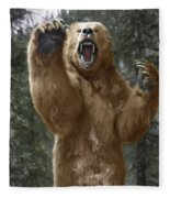 Grizzly Bear Attack On The Trail Fleece Blanket