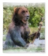 Grizzly Bear Photo Art 01 Fleece Blanket