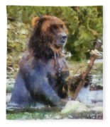 Grizzly Bear Photo Art 02 Fleece Blanket