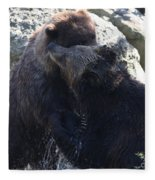 Grizzly Bears Fighting Fleece Blanket