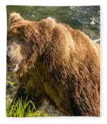 Grizzly On The River Bank Fleece Blanket