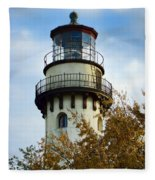 Grosse Point Lighthouse Fleece Blanket
