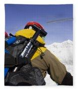 Group Heli Skiing, Helicopter Taking Fleece Blanket