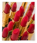 Group Of Red Lipsticks Fleece Blanket