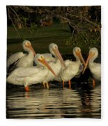 Group Of White Pelicans Fleece Blanket