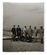 The Wright Brothers Group Portrait In Front Of Glider At Kill Devil Hill Fleece Blanket