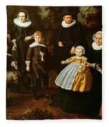 Group Portrait Of Three Generations Of A Family In The Grounds Of A Country House Oil On Canvas Fleece Blanket