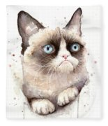 Grumpy Cat Watercolor Fleece Blanket