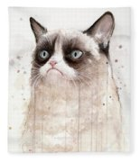 Grumpy Watercolor Cat Fleece Blanket