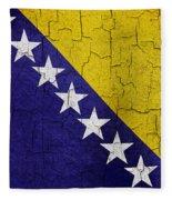 Grunge Bosnia And Hertzegoniva Flag Fleece Blanket