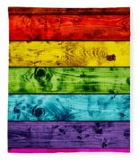 Grunge Colorful Wood Planks Background Fleece Blanket