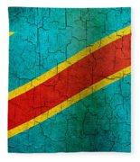 Grunge Democratic Republic Of The Congo Flag Fleece Blanket
