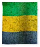 Grunge Gabon Flag Fleece Blanket