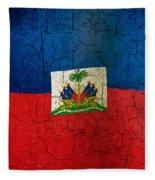 Grunge Haiti Flag  Fleece Blanket