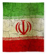 Grunge Iran Flag Fleece Blanket