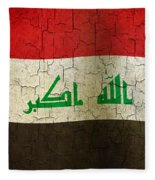 Grunge Iraq Flag Fleece Blanket