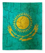 Grunge Kazakhstan Flag Fleece Blanket