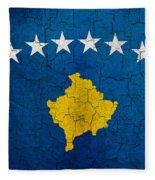 Grunge Kosovo Flag Fleece Blanket