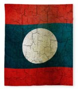 Grunge Laos Flag Fleece Blanket