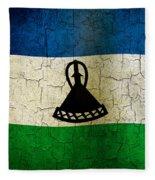 Grunge Lesotho Flag Fleece Blanket