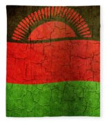 Grunge Malawi Flag Fleece Blanket