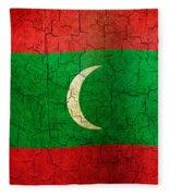 Grunge Maldives Flag Fleece Blanket