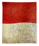 Grunge Monaco Flag Fleece Blanket