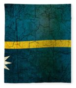 Grunge Nauru Flag Fleece Blanket