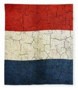 Grunge Netherlands Flag Fleece Blanket