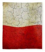 Grunge Poland Flag Fleece Blanket