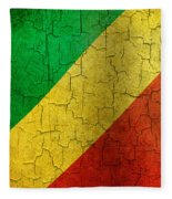 Grunge Republic Of The Congo Flag Fleece Blanket