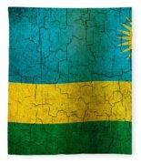 Grunge Rwanda Flag Fleece Blanket