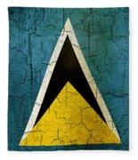 Grunge Saint Lucia Flag Fleece Blanket