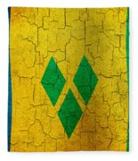 Grunge Saint Vincent And The Grenadines Flag Fleece Blanket