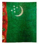Grunge Turkmenistan Flag Fleece Blanket