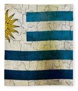 Grunge Uruguay Flag Fleece Blanket