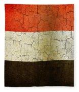 Grunge Yemen Flag Fleece Blanket