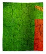 Grunge Zambia Flag Fleece Blanket