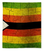 Grunge Zimbabwe Flag Fleece Blanket