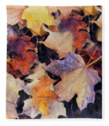 Grungy Autumn Leaves Fleece Blanket