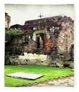 Guatemalan Church Courtyard Ruins Fleece Blanket