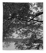 Guggenheim And Trees In Black And White Fleece Blanket