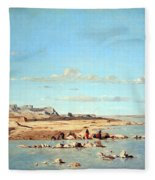 Guigou's Washerwomen On The Banks Of The Durance Fleece Blanket